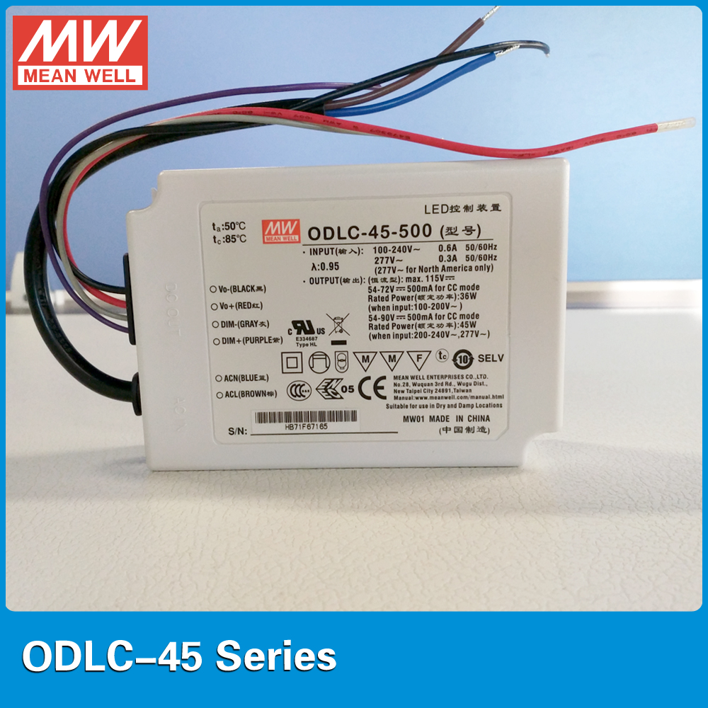 Original MEAN WELL 45W constant current LED driver ODLC-45-500 500mA 45W 0~10VDC/10V PWM dimming driver Flicker free design