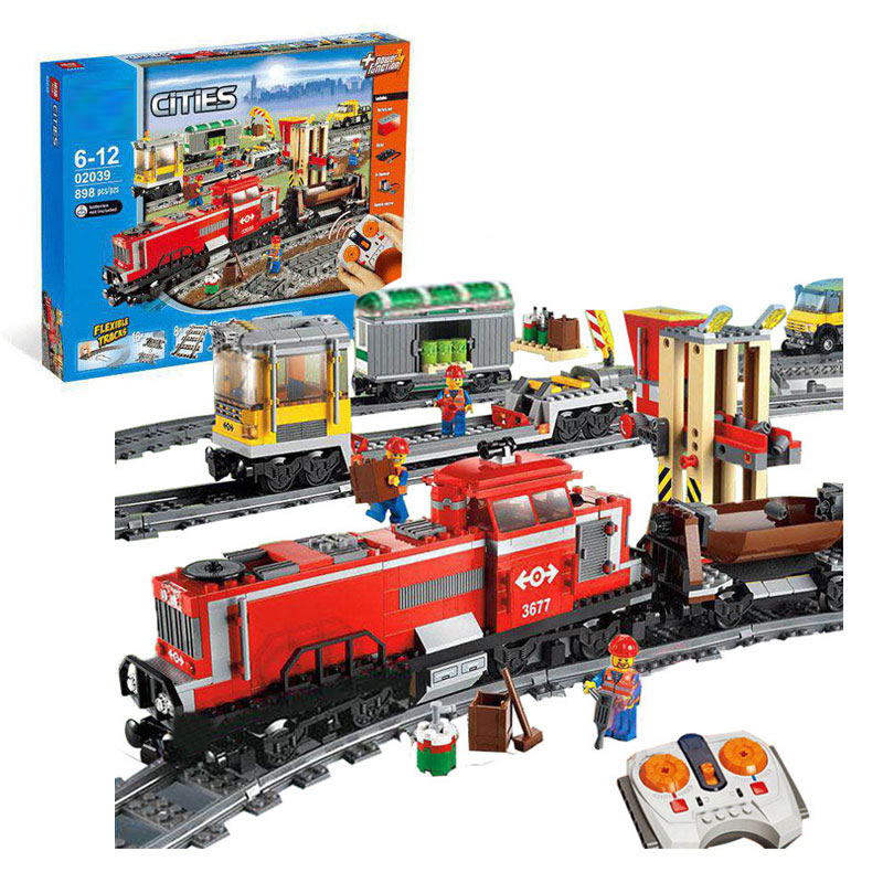 Lepin 02039 Model building kits compatible with lego city RED CARGO TRAIN 3677 Building Brick Blocks RC Train 898 Pcs