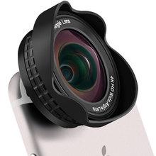 Lente da câmera do telefone móvel 4 k hd profissional 16mm nenhuma distorção 0.45x lente grande angular e 20x macro com clipe para smartphone