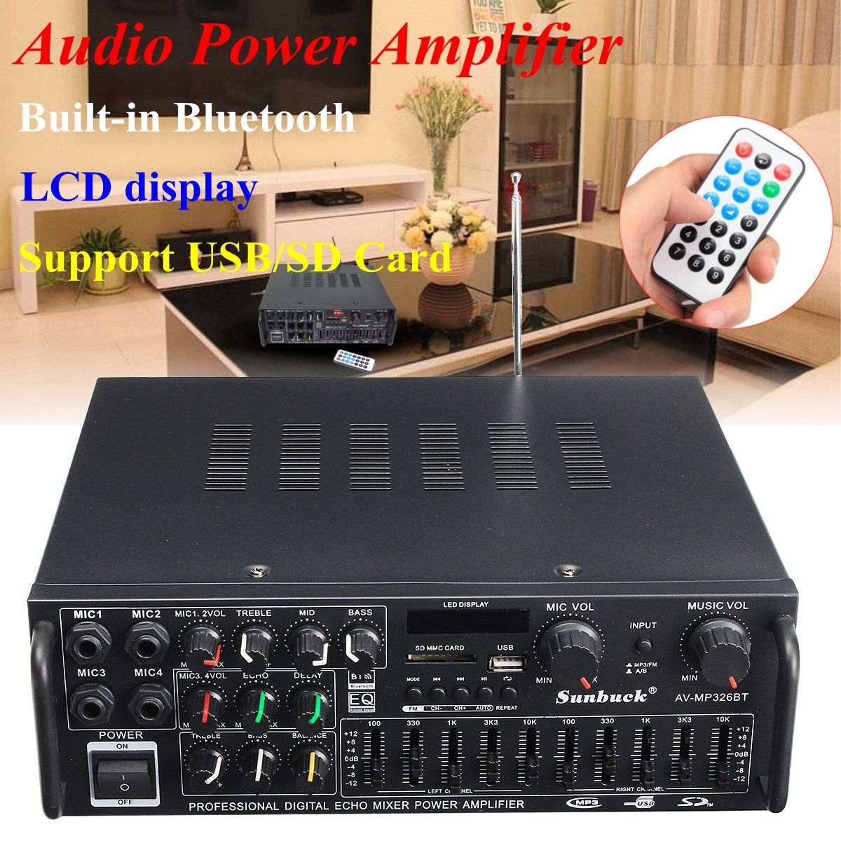 Bluetooth 2,0 canal 2000 W de potencia de Audio amplificador HiFi 326BT 12 V/220 V AV Amp con control remoto control de auto a casa.