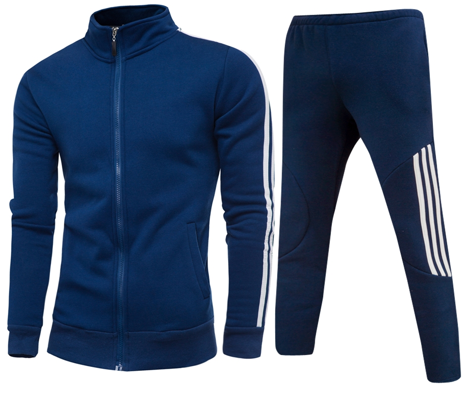 Men's Gym TrackSuit Sport Jacket Suit Set Trousers Black Red White Blue Outfits