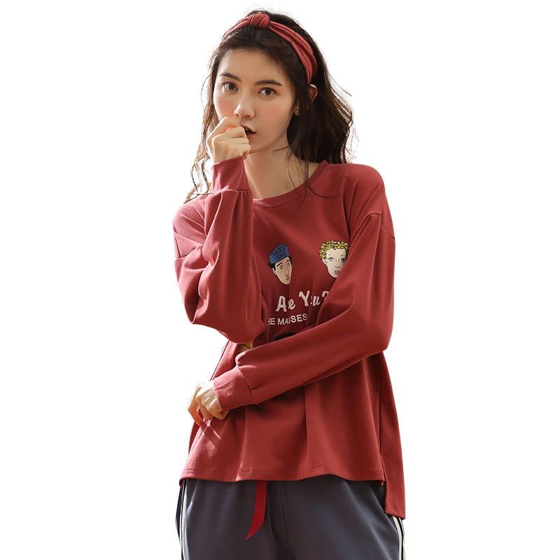 d23cd0fc198c8 ... Femmes Pyjamas Ensemble Coton de Couchage Vêtements Deux Pièces Home  Wear vêtements de Nuit Rouge Tops Bleu Gris Pantalon pijama feminino Pas  Cher En ...