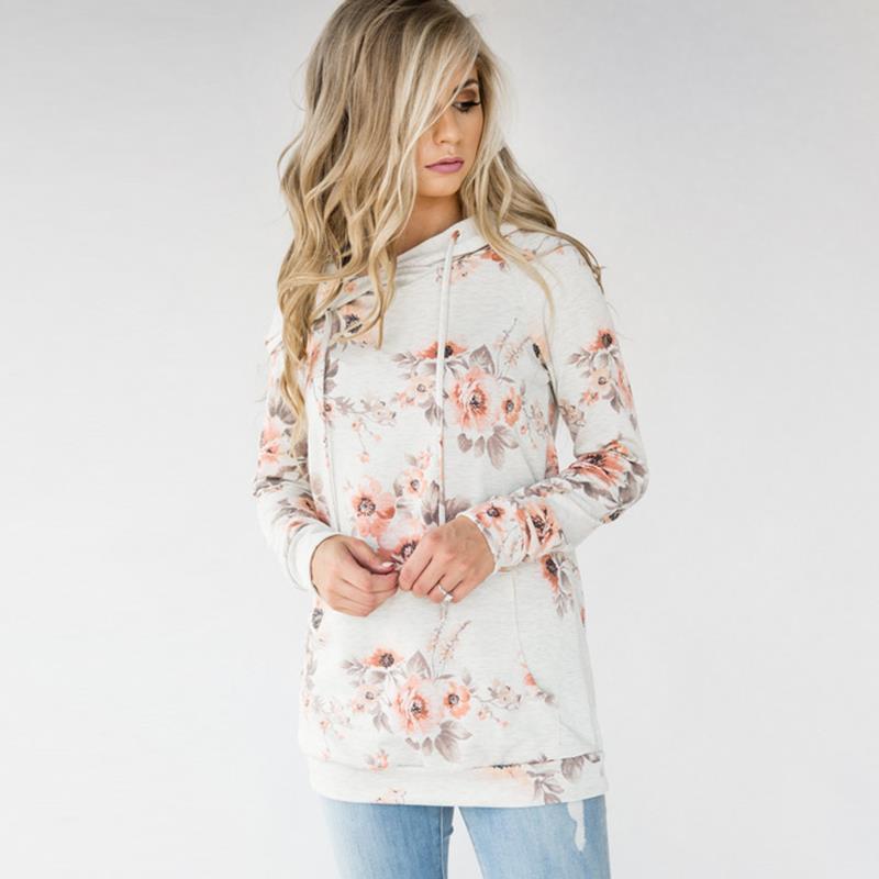 Casual Tops Women Loose Sweatshirt Printed Hoodies Long Sleeve Hoody Female Sweatshirts Winter Pullovers WS1752X