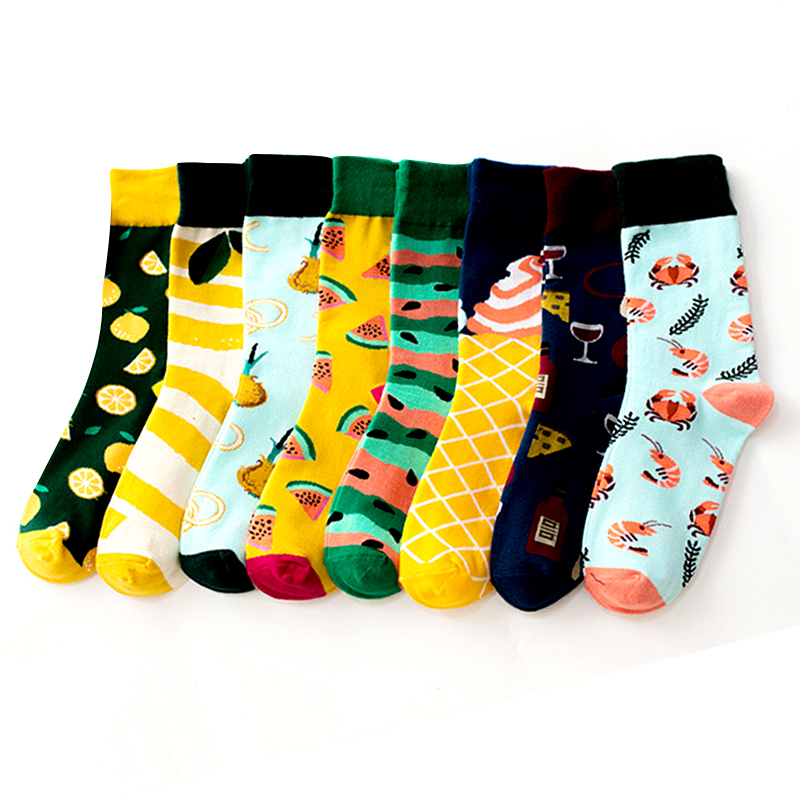 Funny Street Fruit Pattern Socks Watermelon Lemon Shrimp Beer Short Cool Crazy Socks Women Men Cotton Happy Casual Socks Famale