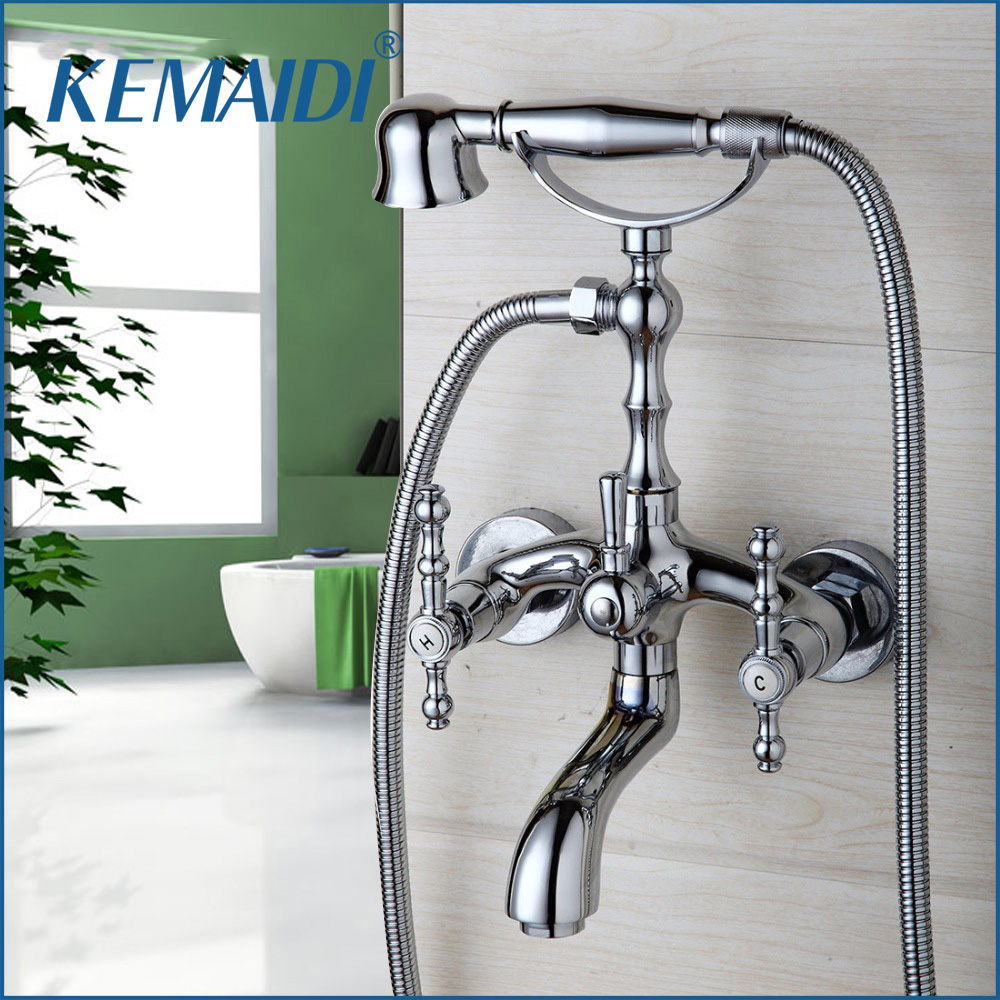 KEMAIDI Bathroom Basin Sink Faucet Shower Set Shower Head Chrome Finish Polish Water Mixer Tap Wall Mounted Telephone Type ouboni fashion style shower head chrome finish polish bathroom basin sink faucet shower set faucet water mixer tap wall mounted