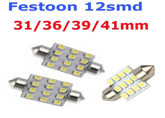 10 PCS 41mm 3528 12SMD LED Car Interior Festoon Dome Bulb Lamp Light 12V WHITE