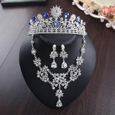 Bride Diaries New Design Crystal Pearl Bride 3pcs Set Necklace Earrings Tiara Bridal Wedding Jewelry Set Accessories (15)