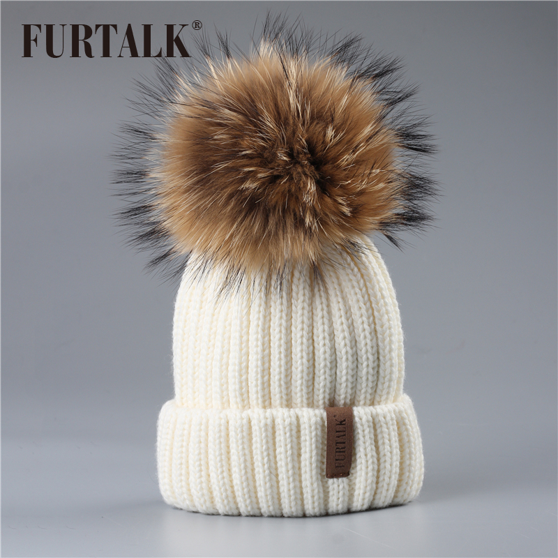 FURTALK 2-7 лет зимние детские шапки с меховым помпоном вязаная шапка для девочки и мальчика