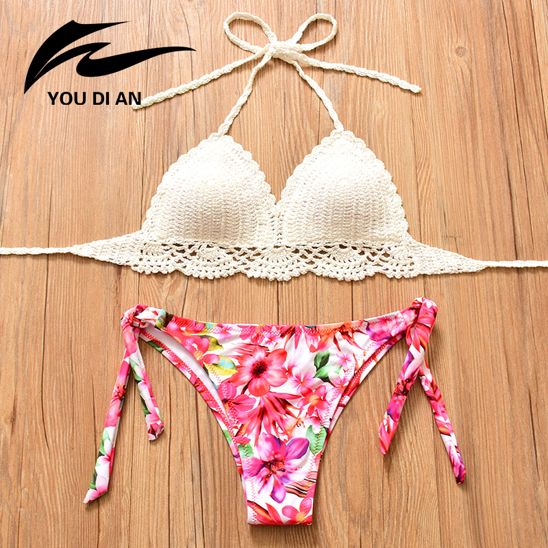 цены 2018 Summer Sexy Swimwear Women Handmade Knitted Swimsuit Crochet Bikini Floral Printed Bottom Bathing Suits Beachwear Bikinis