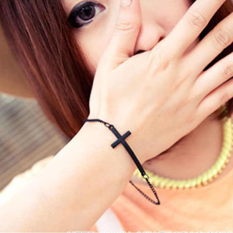 Silver  Golden Black Cross Thin Chain Personalized Adjustable Bracelets For Women