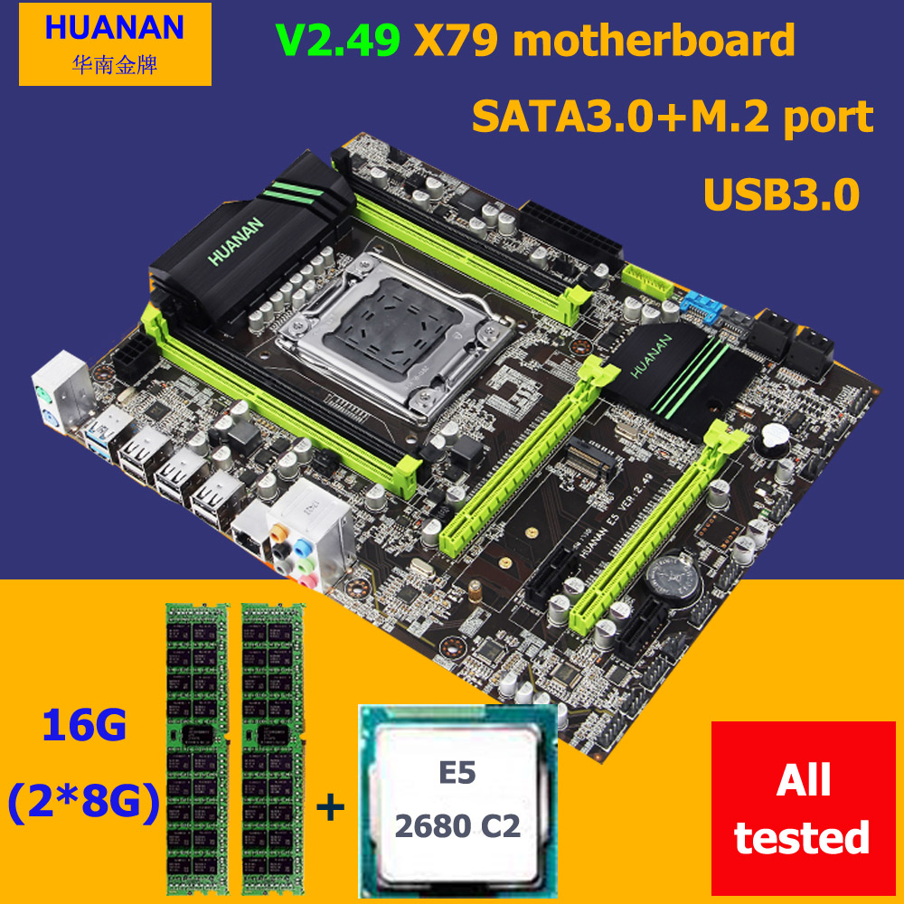 HUANAN X79 motherboard CPU RAM combos X79 V2.49 LGA2011 Xeon E5 2680 C2 RAM 16G(2*8G) DDR3 REG ECC all tested 2 years warranty new arrival huanan x79 motherboard cpu memory combos x79 lga2011 motherboard cpu intel xeon e5 2670 srokx ram 8g ddr3 reg ecc