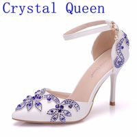 Crystal Queen Lady Wedding Shoes Blue Diamonds Heels Bridal Shoes Pointed Toe Thin Women Heels Sandals