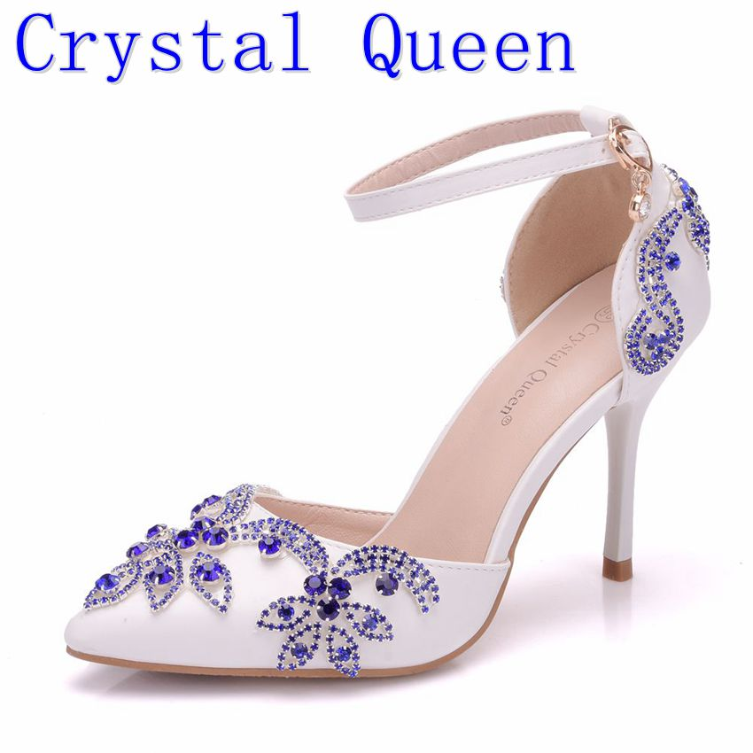 Crystal Queen Lady Wedding Shoes Blue Diamonds Heels Bridal Shoes Pointed Toe Thin Women Heels Sandals High Heels 9CM Party