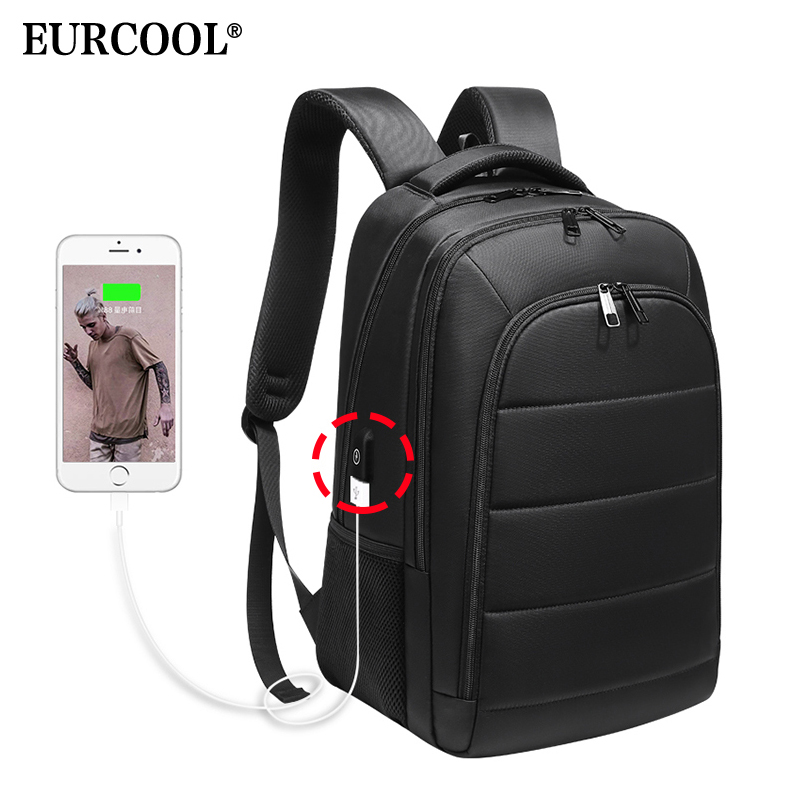 EURCOOL Men 15 6 inch Laptop Backpack USB Charging for Male Mochila Travel Bags Water Repellent