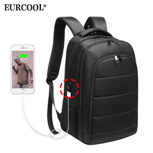 Купить с кэшбэком EURCOOL Men 15.6 inch Laptop Backpack USB Charging for Male Mochila Travel Bags Water Repellent Teenage Backpacks School n0001