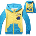 Kids boys jacket boy Despicable Me Minions Spring Terry hoodie sweatshirt childrens coat