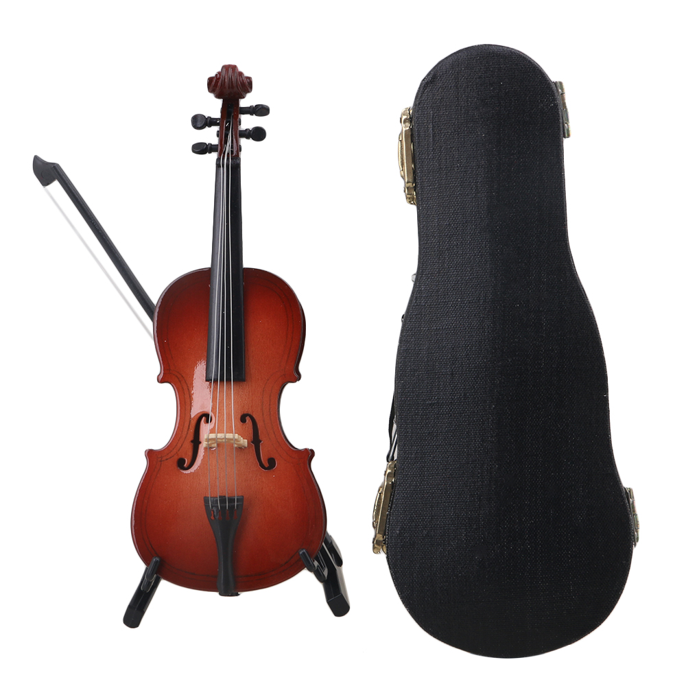 Yibuy Multicolor Resin 12CM Mini Cello Model With Stand Musical Instrument Replica Ornaments Christmas Gift Home Decoration