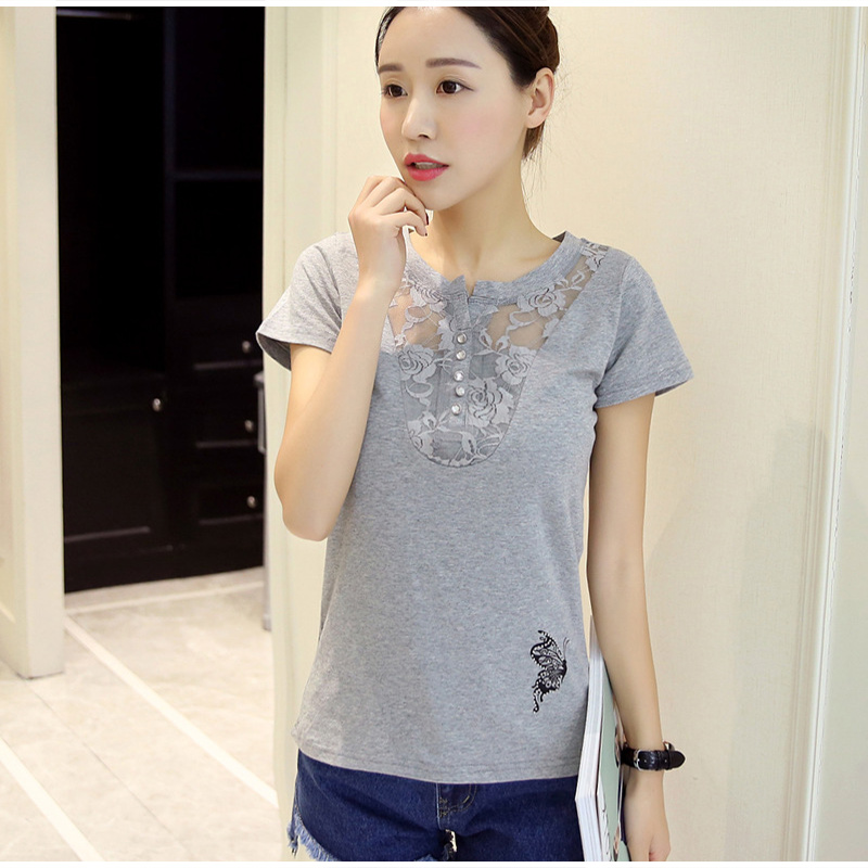 Women's Short Sleeve Lace Patchwork T-Shirt Print Office Lady Casual Women T-Shirts Plus Size 3XL 2019 Summer Tees Tops Female 1