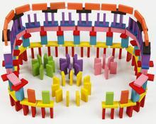 120pcs Kids colorful wood assemble block educational toys/Children wooden color sort rainbow Domino blocks/ , free shipping