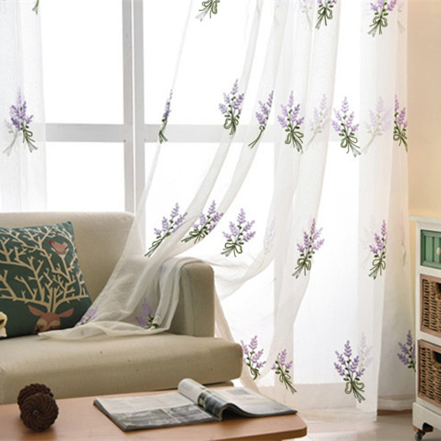 Simple White Lavender Embroidered Tulle Embroidered Voile Curtains Bedroom  Study The Living Room Tulle 258u002620
