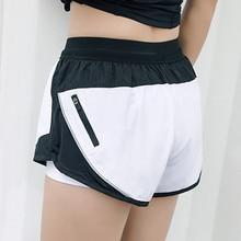 4b44cee3ca392 2019 nuevo estilo de verano Pantalones cortos de las mujeres 2 en 1 Deporte  Pantalones cortos Fitness lado cremallera pantalones.