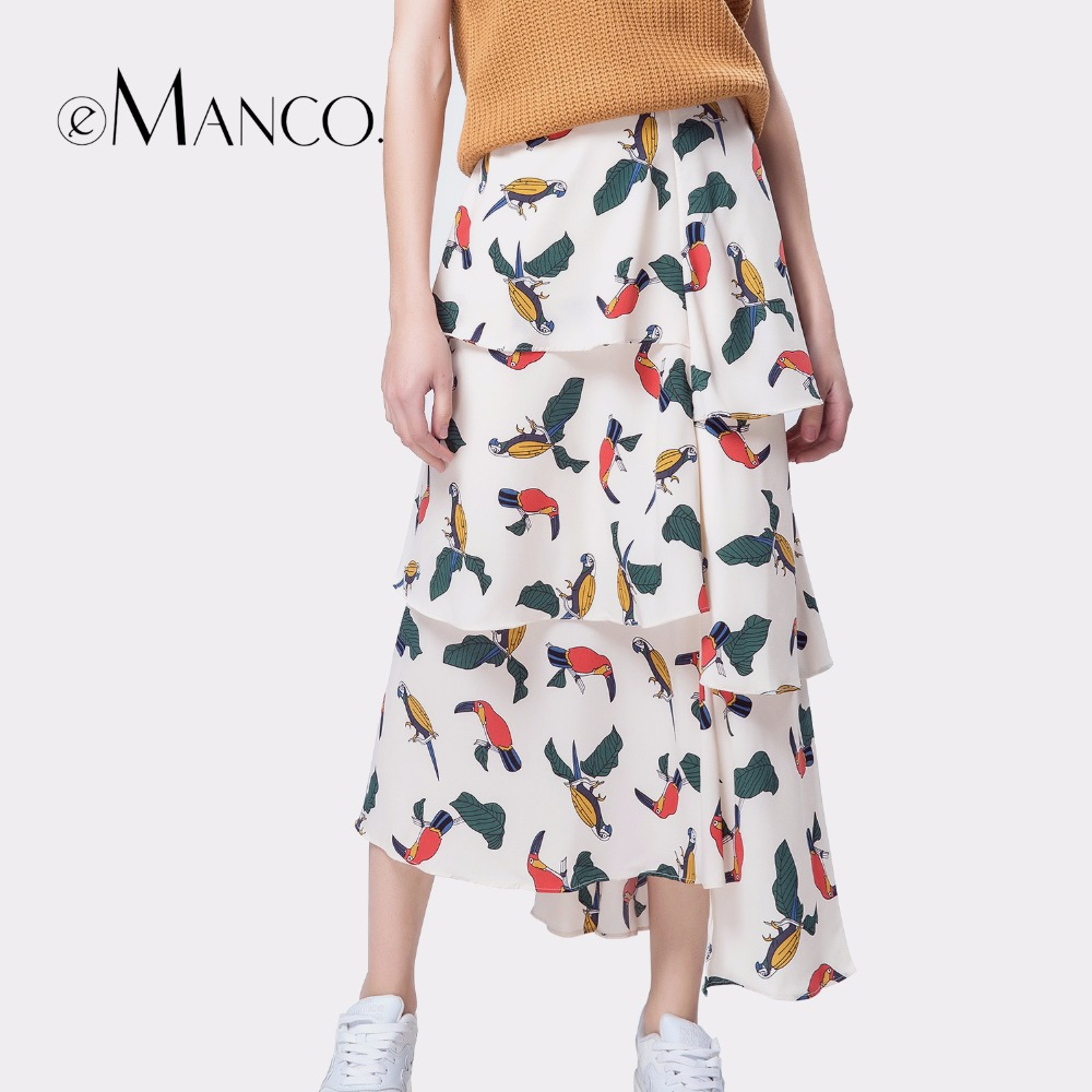 e-Manco maxi skirt boho skirts womens casual bohemian pleated A-Line saia midi skirt print Elastic high waist female faldas pleated high waist a line skater skirt