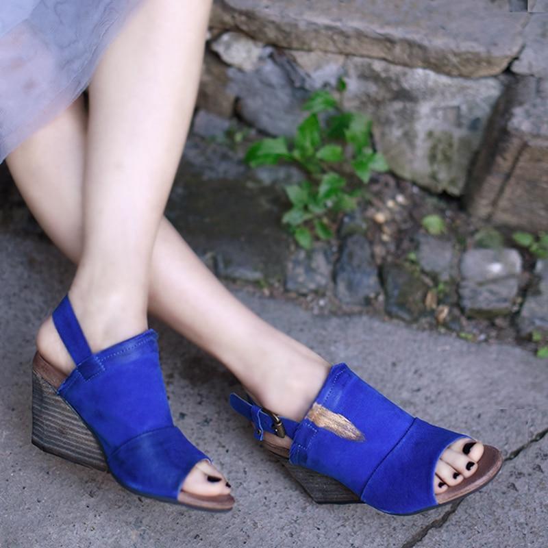 Artmu Original Retro Wedges Heels Women's Sandals Open Toe Sheepskin High Heels Genuine Leather Handmade Buckle Sandals 338-7