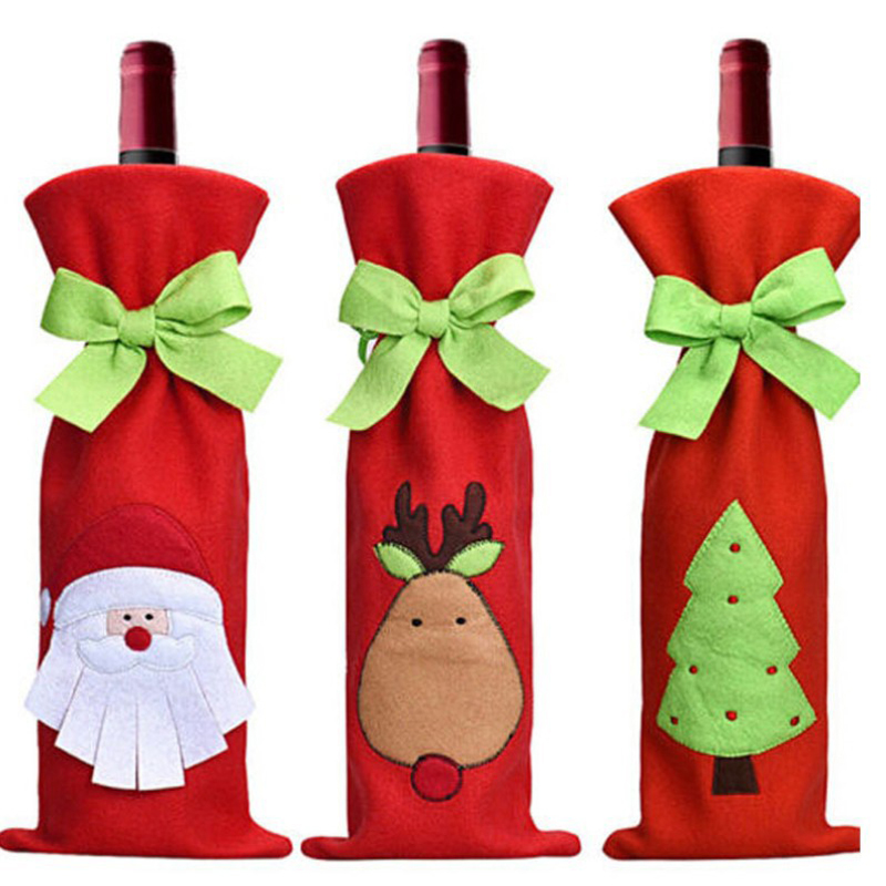 Christmas Decorations Cartoon Wine Bottle Bag Santa Claus Tree Elk Gift Bags Weddings Holidays Party 15x 38cm Bottle Cooler