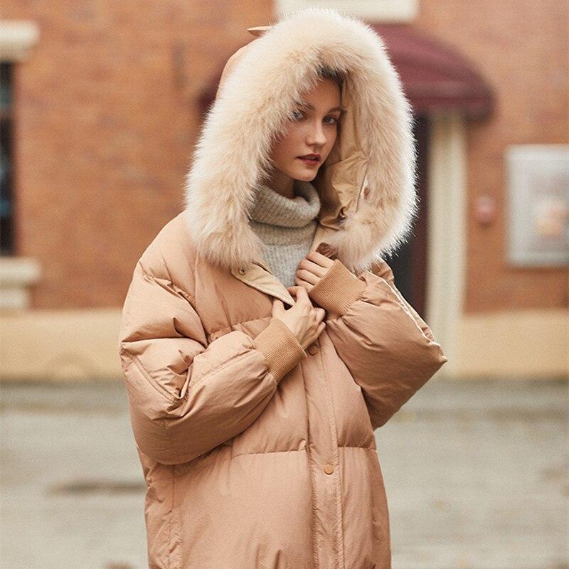 Parka Casual Femmes Le À Neige Veste D'hiver Blanc Femelle Manteau Outwear Capuchon Canard Tcyeek Réel De Lwl1164 Doux Vers Fourrure Bas Duvet Apricot 90 wOZxFXxqC