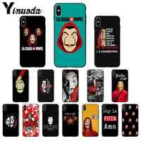 Yinuoda España TV La Casa de papel negro TPU suave cubierta de La caja del teléfono para iPhone X XS X MAX 6 6s 7 7plus 8 8Plus 5 5S SE XR