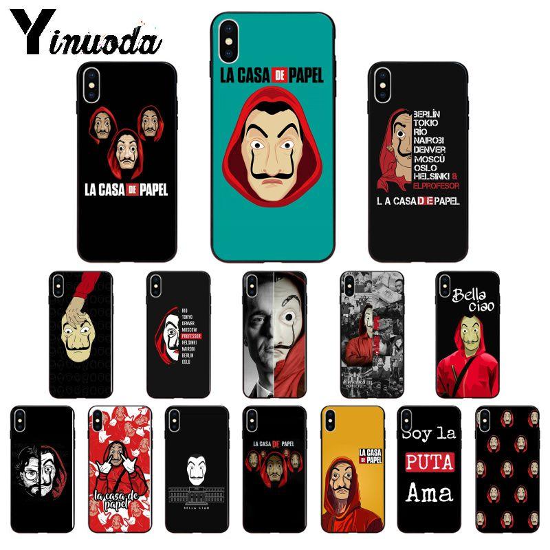 Yinuoda espagne TV La Casa de papel noir TPU doux housse de téléphone pour iPhone X XS MAX 6 6s 7 7plus 8 8Plus 5 5S SE XR