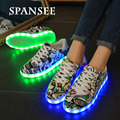 Size35-45 Fashion Graffiti Luminous Glowing Sneakers with Light Soles Kids Boys White USB Light Up Shoes Led Slippers Trainers