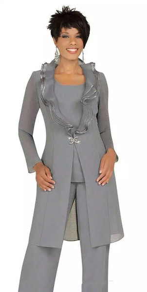 2018 Cheap Gray Chiffon Mother of the Bride Pant Suits with Long Jacket Custom Made Women Wedding Guest Dress Evening Outfits Plus Size