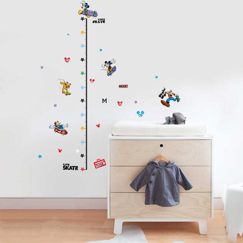 Mickey Mouse Donald ördek yükseklik ölçüsü sticker duvar çıkartmaları çocuklar için boys odaları büyüme grafiği kreş yükseklik cetvel dekor