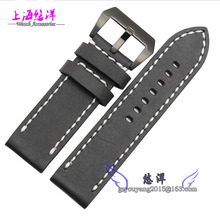 Leather band adapter PAM1831950 24 26 mm black strap frosted clasp