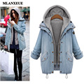 2016 Autumn New Coat Vintage Warm Jacket Casual Loose Denim Jacket Fashion Slim Was Thin Hooded Two-Piece Suit Jacket