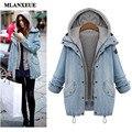 2016 otoño nueva moda chaqueta campera de abrigo vintage denim flojo ocasional delgado era delgada con capucha traje de dos piezas chaqueta