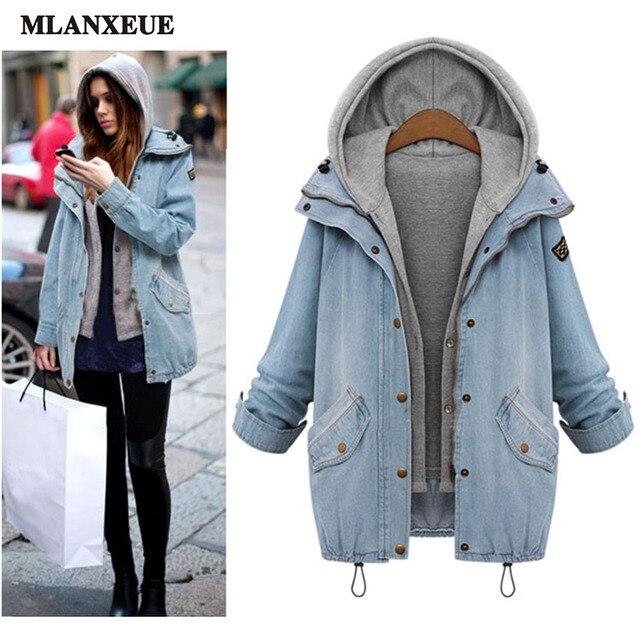2016 outono nova casaco vintage casaco quente casual solto jaqueta jeans da moda fina era fina com capuz dois-terno pedaço jaqueta
