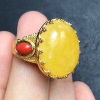 Стерлингового серебра ювелирных камней s925 Серебряный инкрустированные руды натуральный пчелиный воск кольцо