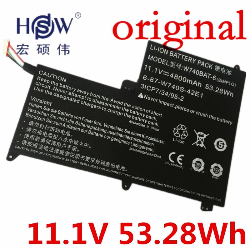 HSW   11.1V 53.28Wh Battery for Clevo W740BAT-6 6-87-W740S-42E 3ICP7/34/95-2 S413 W740SU X411 bateria akku original rechargeable clevo w370bat 8 li ion battery 6 87 w370s 4271 6 87 w37ss 427 k590s laptop battery 14 8v 5200mah 76 96wh