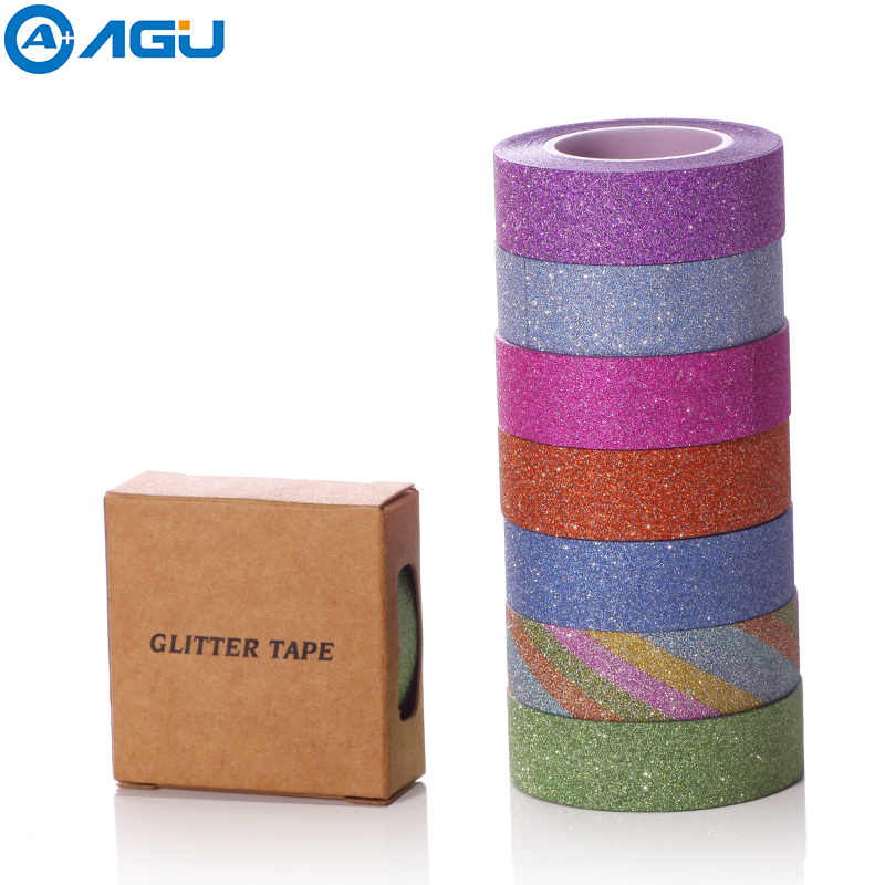 AAGU 15 Colors Box Paxkage Hot Sales 10m Glitter Washi Tape Sticky Paper Masking Adhesive Tape Label Craft Decorative Paper Tape