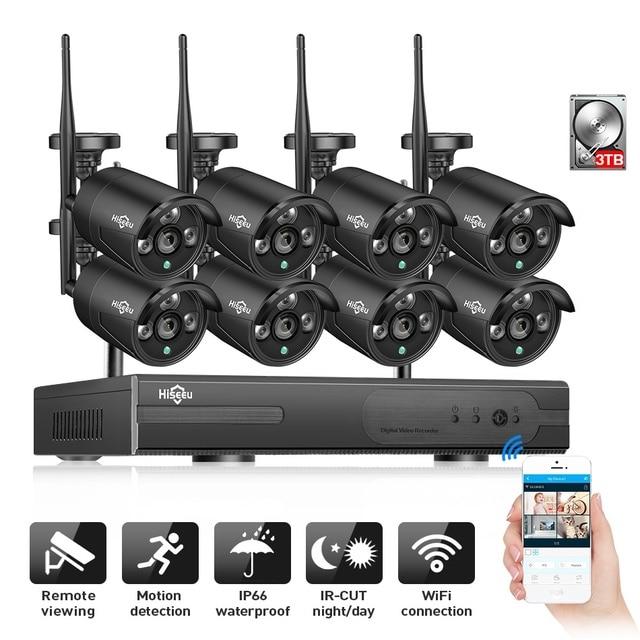 2MP 8CH Беспроводной 1080 P NVR CCTV системный комплект для фотокамеры IP Wi-Fi Камера черный 3 ТБ HDD открытый Ночное Видение безопасности Системы Hiseeu H.265