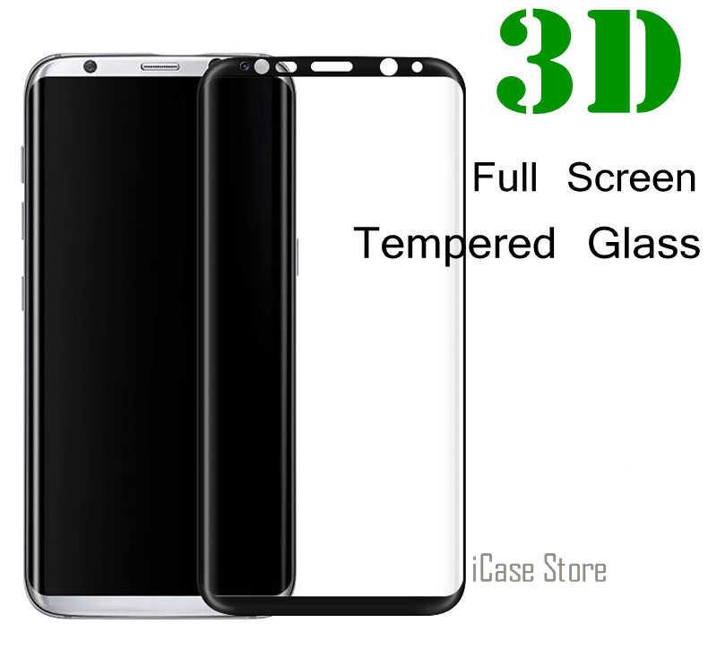 واقي للشاشة الكاملة ثلاثية الأبعاد 9H من الزجاج المقسى لهاتف سامسونج جالاكسي S6 S7 S8 Edge Plus A3 A5 A7 2017 A320F A520F A720F