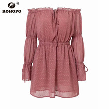 ROHOPO Double Layer Chiffon Long Sleeve Dress Puff Slash Neck Polk Dot Pink Vestido Embroidery Ruffles #YY0287F