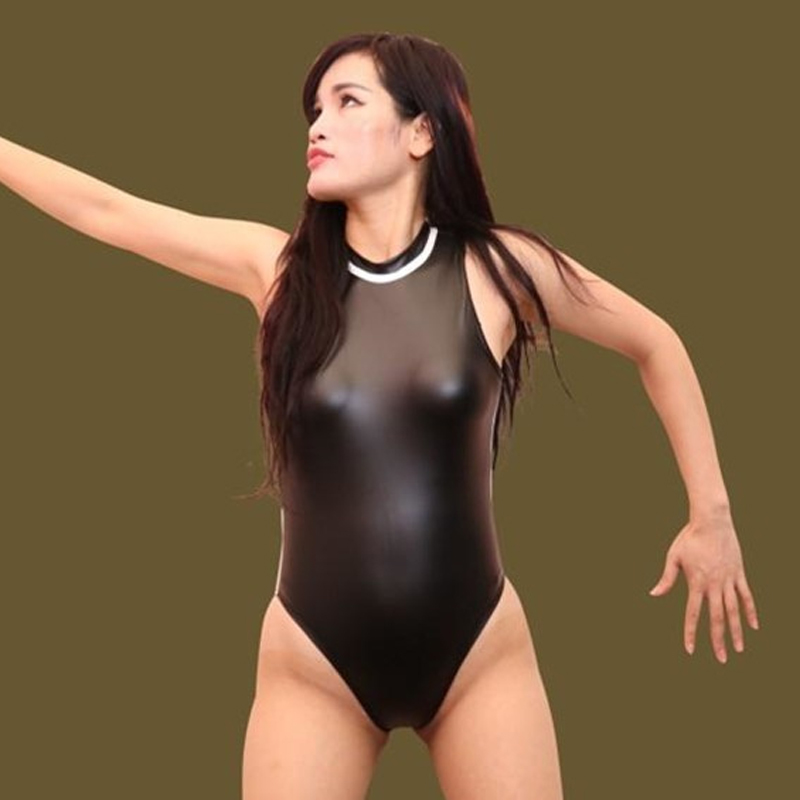 Sexy Faux Leather Latex Matte High Cut Bodysuit Stripe High Neck One Piece Swimwear Elasticity Club Dance Wear Erotic Lingerie