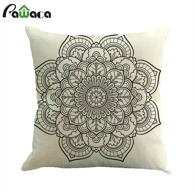 Throw Pillowcase Pillow Cover Flowers Pattern Living Room Bed Chair Seat Home Decorative Case