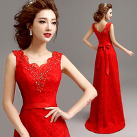 vestido de festa longo hot sexy red lace long evening dress 2015 robe de soiree new arrival formal dresses bow sashes