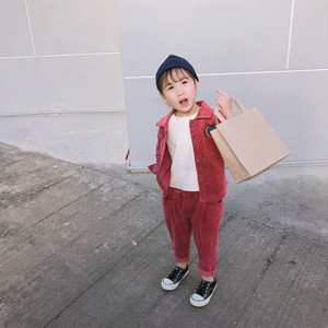 Image 2 - 2019 Spring New korean style cotton clothing sets shirt with long pants fashion corduroy suit for cute sweet baby girls