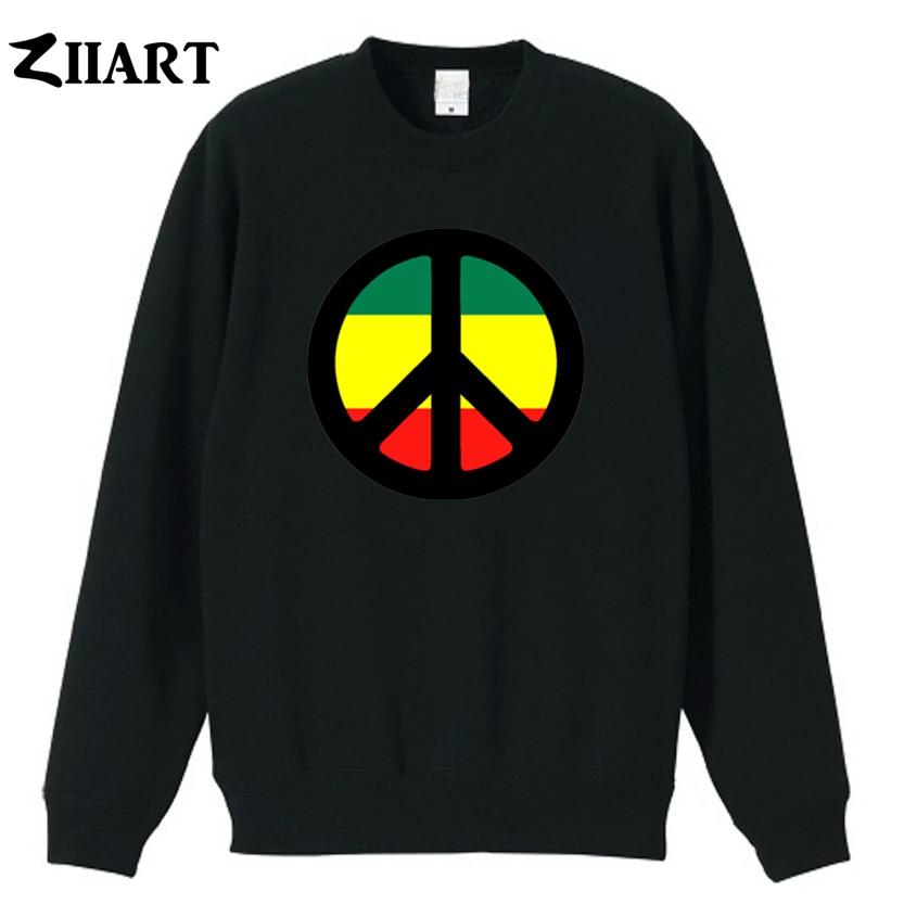 Jamaica Peace Symbol Sign British Nuclear Disarmament Movement Couple Clothes Boys Man Male Autumn Winter Fleece Sweatshirt