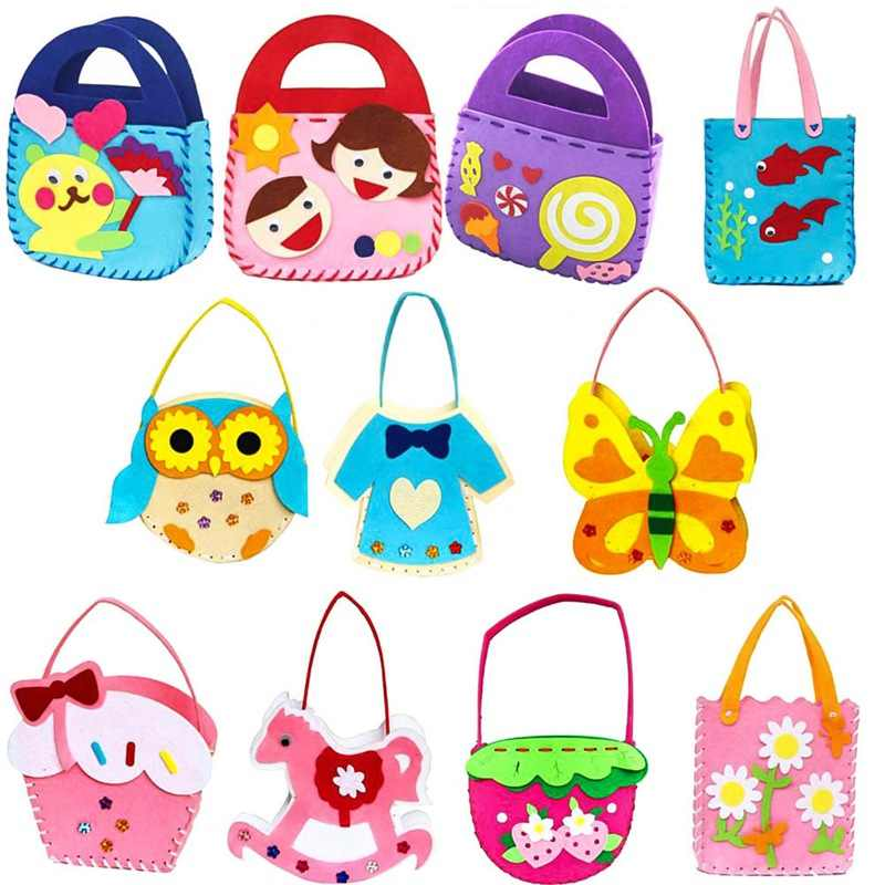 1PCS Children Cartoon Non-woven Cloth Animal Flower Handmade Kids DIY Bag Crafts Art Gift